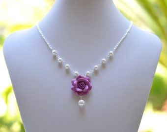 Dusty Plum Rose and Pearls Centered Necklace. Purple Rose Jewelry. Flower Necklace.