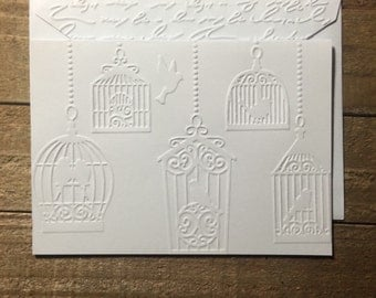 Bird Cage White Embossed Note Cards, Bird Cage Note Cards, Bird Cage Blank Cards, Bird Stationery Set, Blank Note Cards