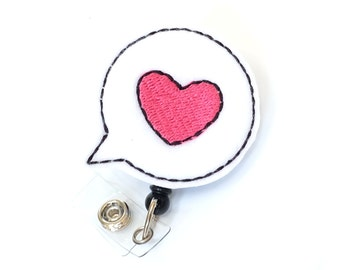 Speech Bubble - Audiologist ID Badge Clip - Felt Badge Reel - Cute Retractable Badge Holder - Speech and Hearing Badge Pull - BadgeBlooms