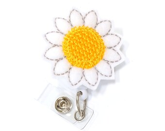 Daisy - Felt Name Badge Reels - Cute Badge Holders - Unique Retractable ID Badge Clips - Flower Badge Pulls - Nurse Badges - BadgeBlooms
