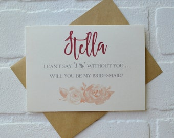 Will you be my BRIDESMAID PERSONALIZED NAME vintage card bridesmaid cards wedding cards custom name bridal party card vintage roses cards