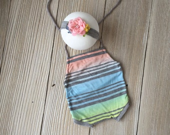 Gray Striped Rainbow Pink Blue Green Backless Romper Jersey Knit Newborn SET with Floral Crown Headband - Ready to Ship