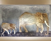 Original elephants textured African modern painting art brown grey black 30x40 FREE SHIPPING