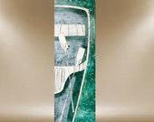 original painting boat nautical textured art sailing row ship oars 36x12 FREE SHIP