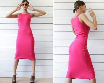 Vintage simple minimalist bright pink fitted bodycon over the knee length sleeveless sheath pencil dress S