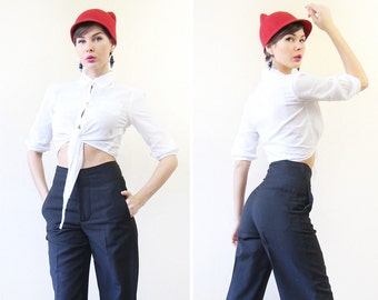 Vintage white cotton elbow sleeve tie front crop shirt blouse top XS