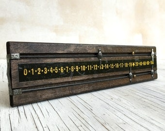 Snooker or Billiards score board, vintage game room piece. A curious addition to your display cabinet?
