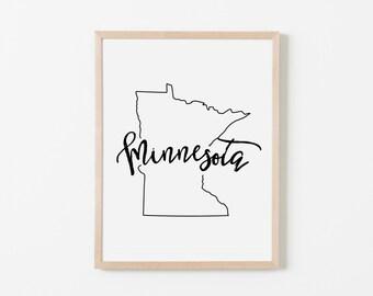 Minnesota Nursery Art. Nursery Wall Art. Nursery Prints. Minnesota Wall Art. State Wall Art. Minnesota Nursery.