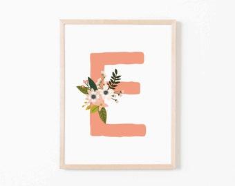 Coral Bloom E Nursery Art. Nursery Wall Art. Nursery Prints. Nursery Decor. Girl Wall Art. Personalized Wall Art. Monogram Art. Floral Art.