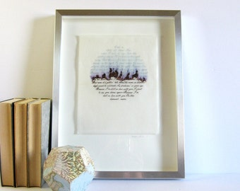 Neil Young Harvest Moon Music Lyric Art - 13 x 17 Silver Frame - Typography Art - Silver Ink Drawing - Modern Abstract Art - Landscape Art