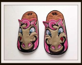 Horse Slippers, Children's Slippers, Kids Slippers, Bedroom Slippers, House slippers,