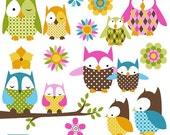 70% Sale Baby Owl Digital Clipart - Scrapbook , card design, invitations, stickers, paper crafts, web design - INSTANT DOWNLOAD