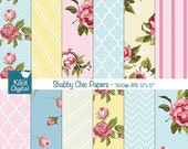 70% Sale Shabby Chic Digital Papers - Scrapbooking, card design, invitations, stickers, background,  paper crafts, web design - INSTANT DOWN