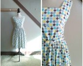 Jukebox Saturday Night 1950s White/Yellow/Purple/Aqua/Grey/Blue Harlequin/Diamond Print Dress