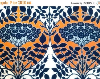 ON SALE Joel Dewberry Fabric - 1/2 Metre Botanique - Leafy Damask in Apricot / Fountain Palette (Deep Water and Apricot) ships from Australi