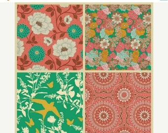 ON SALE LAST One Joel Dewberry Fabric - 4 Fat Quarter Bundle Bungalow in Coral and Emerald