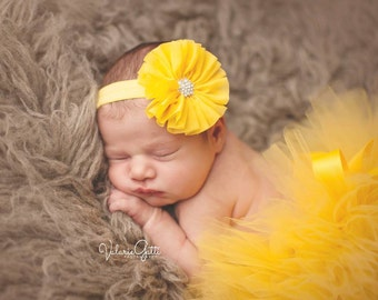 READY TO SHIP Tutu Set, Size Newborn, Yellow Tutu Set, Yellow Tutu and Headband, Newborn Tutu, Baby Tutu, Yellow Tutu, Newborn Photo Prop