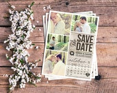 Save The Date Magnet, Card or Postcard . Modern Rustic Calendar