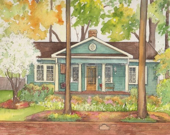 "House painting in watercolor, home portrait from photo, custom architectural sketch, original commissioned art work, 8""x10"" with 11""x14""mat"