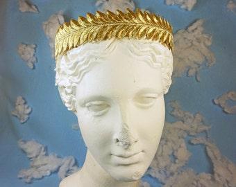 Gold Leaf Crown, grecian crown headband, gold headband women, gold embroidery, gold leaf headpiece, gold leaf bridal headband, gold crown