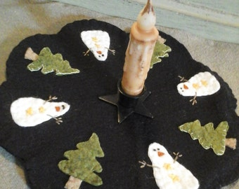 Snowman in the woods penny rug candle mat
