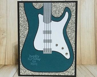 Happy birthday, guitar, electric guitar, teal, handmade card, greeting card