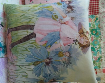 Fairy tale illustration hand printed onto fabric and made into a cushion, fairies, childhood