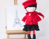 Soft Doll Rag Doll Kids gift Fabric & Felt Dress Up Fashionable Doll Black and Red Classically French Girl - Mathilde in Parisian style