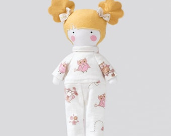 Owls Doll Pajamas Flannel White with Pink and Light Brown Owls PJs Sleeper 12 inches Girl Doll Flannel Sleeper Fits My 12 inch Fashion Dolls