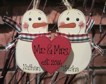 Personalized Snowmen Couple Ornament - Mr. & Mrs. est.