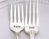 CUSTOM PERSONALIZE A Hand Stamped Dinner Fork or Salad/Dessert Fork Create Your Own For A Unique Gift Idea - 18 for One Fork - 36 For Two