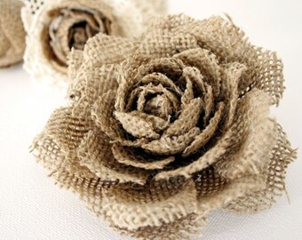 Burlap Rose Flower Brooch