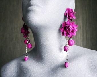 Magenta leather roses  long earrings