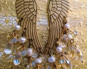 Earrings Handmade Wings Gold with Genuine Pearls Swarovski Crystals Hand Wire Wrapped Long Exotic Boho Chic Original Design