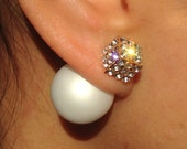 SALE White Cream Double Tribal Earrings Double Sided Pave Crystal Pearl Earrings Bridal Wedding Pearl Stud Earrings Front Back Pearl Earring