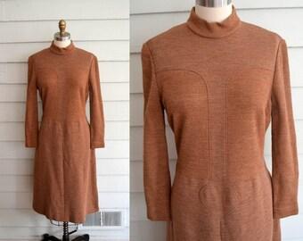 vintage 1960s brown mod dress / Large long sleeve knit dress / Extra Large vintage dress / Plus Size dress / brown wool shift dress