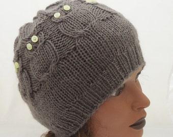 Women Owl Hat, Cable Benie Hat, Women Hat in Brown/Grey, Owl hat in Orange, Owl Benie, Handmade Hat