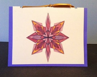 Snowflake 2, Single Blank Greeting Card with Paper insert and Ribbon - Set of 10