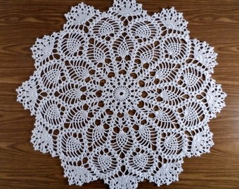 White Crochet Doily, Lace Pineapple Doily, Cotton Thread Table Mat