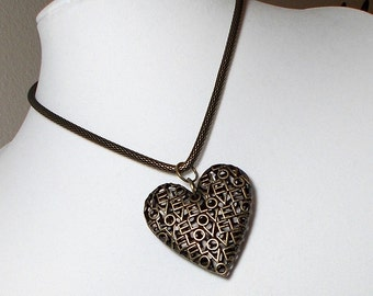 Heart Pendant Necklace Gold Heart Love Letter Necklace Antique Gold Heart Love Letters Pendant Necklace