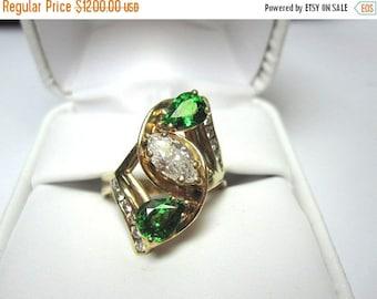 ON SALE Half Carat Marquis Diamond and Emerald Green Tsavorites 14K Gold Ring