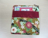 Asian floral design Mahjong bag/purse with cranberry band