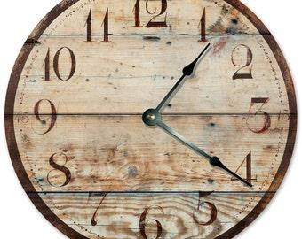 RUSTIC TAN WOOD Clock - Large 10.5 inch Clock - Novelty Clocks - Unique Wall Clocks - Round Circle Clock - Tan worn distressed - 2028