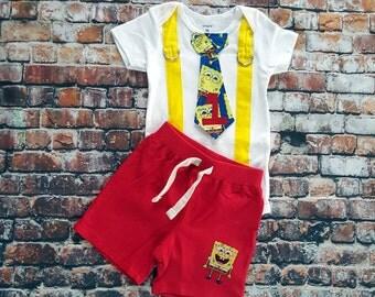 Sponge Bob Inspired Baby Boy Tie Bodysuit with Suspenders and Shorts. Baby Boy First Birthday, Cake Smash, 1st Birthday, Sponge Bob theme