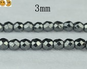 15 inch strand of Hematite faceted round beads 3mm