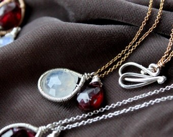 Moonstone and Garnet Pendant Necklace - Thin Gold Chain -Simple Gemstone Necklace- Deep Red gemstone - Silver Lily Jewelry