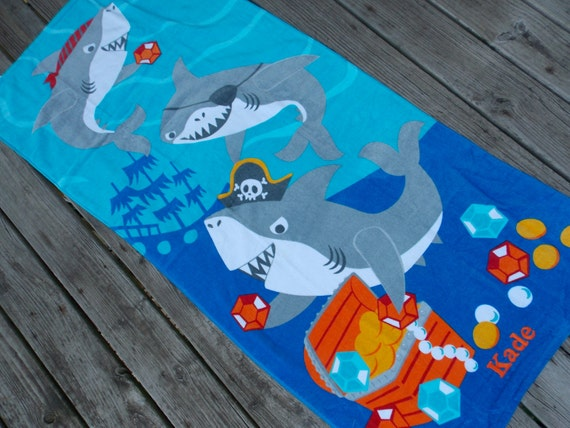 Shark Personalized Beach Towel Shark Towel Shark By