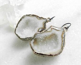 Geode earrings, agate earrings, druzy earrings, statement earrings, silver earrings, long earrings, resort jewelry, oxidized earring