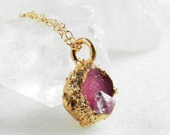 SALE druzy necklace, diamond necklace, drusi, drusy necklace, herkimerdiamond, boho, layering necklace, gold necklace, dainty, minimal