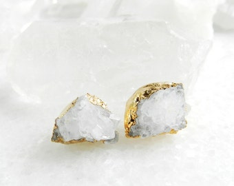 druzy earrings, druzy stud earrings, druzy studs, gold earrings, gold studs, gold stud earrings, crystal quartz, raw crystal, crystal studs